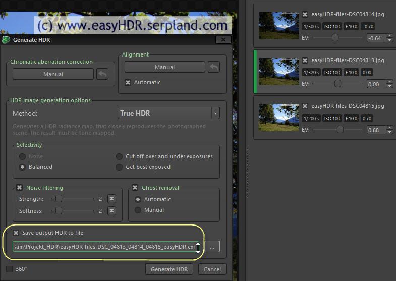 easyHDR Files saving as OpenEXR
