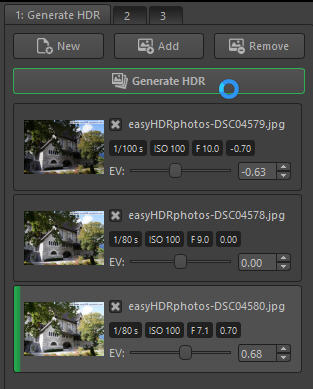 "easyHDR, just drop in the three base photos and press ""generate"" - all done!"