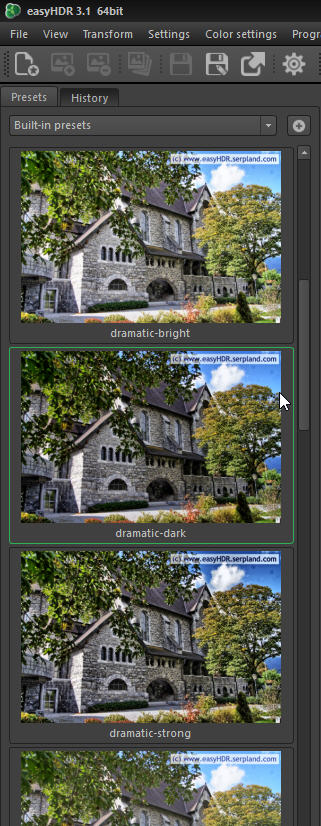 easyHDR result images to click through and to choose