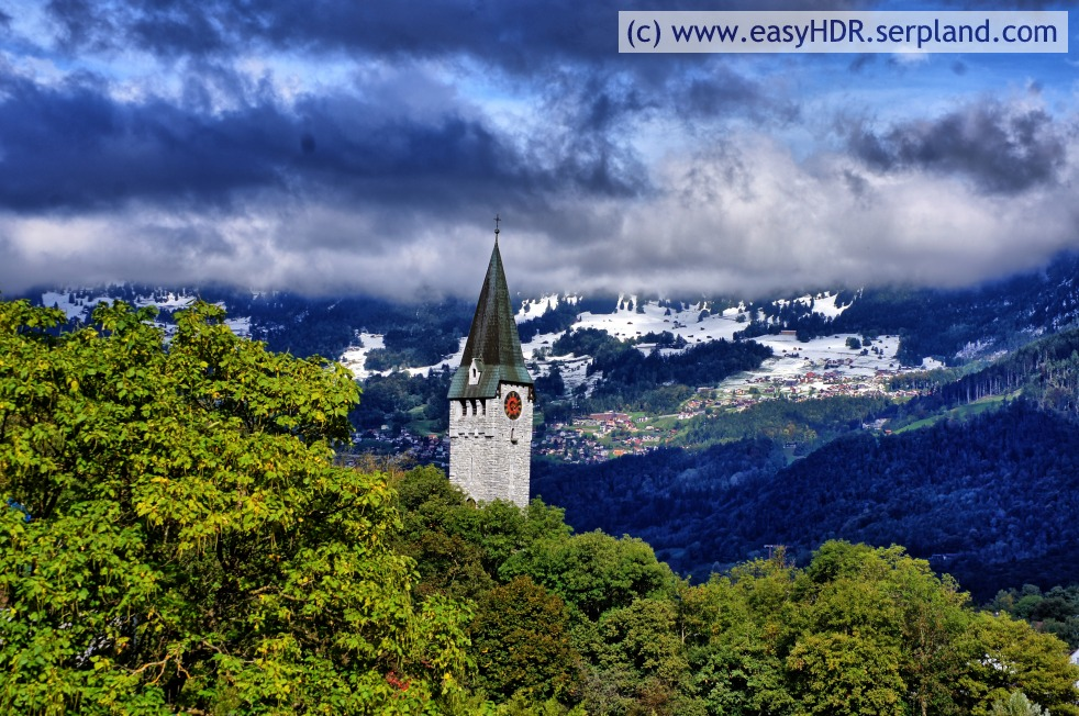 Easy HDR Pro Image |  Church Steeple, Clounds, Snow and Mountains | easyHDR-Pro automatic rendering as dramatic dark