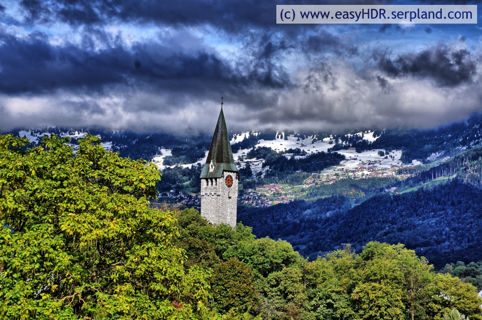Easy HDR Pro Image |  Church Steeple, Clounds, Snow and Mountains | easyHDR-Pro automatic rendering as dramatic strong