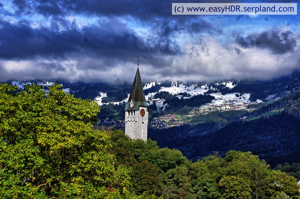 Easy HDR Pro Image |  Church Steeple, Clounds, Snow and Mountains | easyHDR-Pro automatic rendering with high contrast