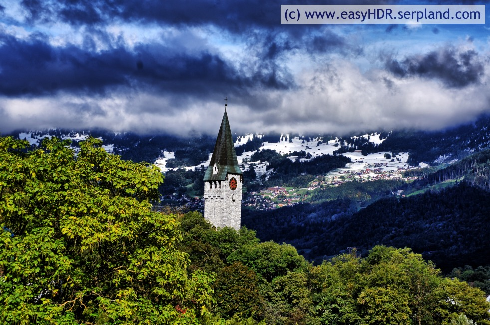 Easy HDR Pro Image |  Church Steeple, Clounds, Snow and Mountains | easyHDR-Pro automatic rendering with night strong settings