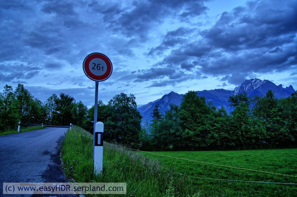 Easy HDR Pro Image | 26tons sign in Switzerland | HDR photography rendered dramatic dark