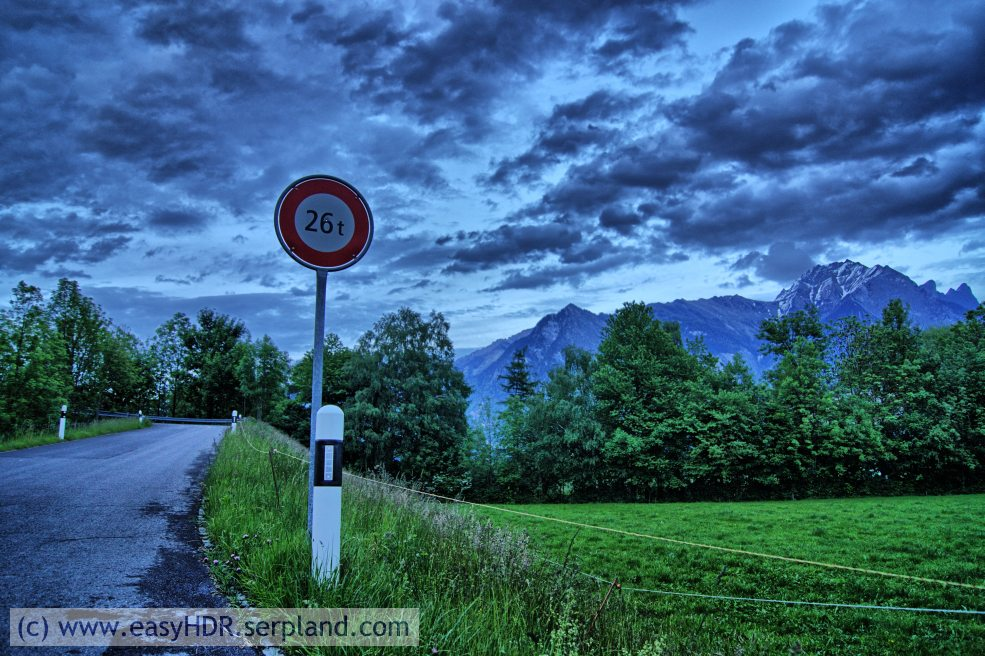 Easy HDR Pro Image | 26tons sign in Switzerland | HDR photography rendered dramatic strong